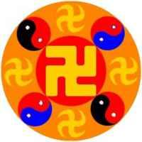 Un'immagine contentente il Tao e la svastica sinistrorsa