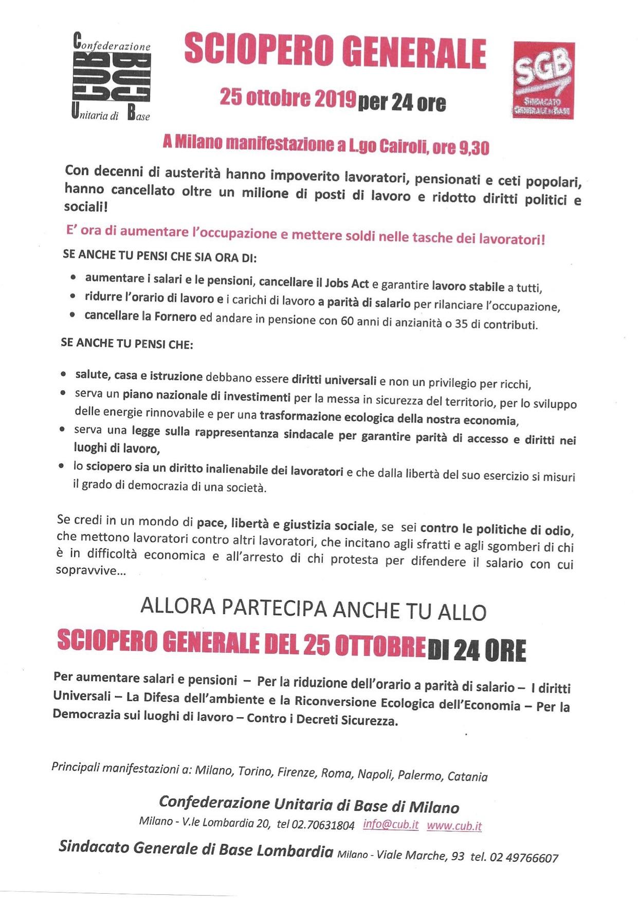 sciopero generale 25 ottobre 19